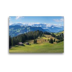 Premium Textil-Leinwand 45 x 30 cm Quer-Format Idyllische Schweizer Alpenlandschaft Stelserberg im Prättigau | Wandbild, HD-Bild auf Keilrahmen, Fertigbild auf hochwertigem Vlies, Leinwanddruck von SusaZoom