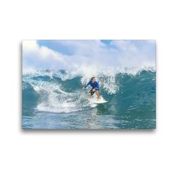 Premium Textil-Leinwand 45 x 30 cm Quer-Format Junger Mann in lässigen Badeshorts auf seinem Surfbrett. | Wandbild, HD-Bild auf Keilrahmen, Fertigbild auf hochwertigem Vlies, Leinwanddruck von CALVENDO