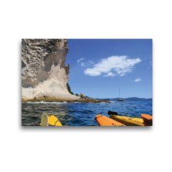 Premium Textil-Leinwand 45 x 30 cm Quer-Format Kalkfelsen nahe Cathedral Cove | Wandbild, HD-Bild auf Keilrahmen, Fertigbild auf hochwertigem Vlies, Leinwanddruck von Jana Thiem-Eberitsch