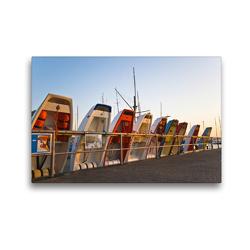 Premium Textil-Leinwand 45 x 30 cm Quer-Format Kiel Heikendorf Hafen | Wandbild, HD-Bild auf Keilrahmen, Fertigbild auf hochwertigem Vlies, Leinwanddruck von Urbach & Urbach