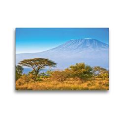 Premium Textil-Leinwand 45 x 30 cm Quer-Format Kilimandscharo bei Sonnenaufgang | Wandbild, HD-Bild auf Keilrahmen, Fertigbild auf hochwertigem Vlies, Leinwanddruck von Jürgen Feuerer