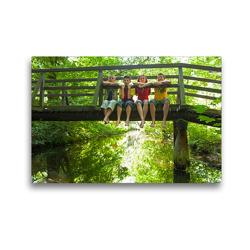 Premium Textil-Leinwand 45 x 30 cm Quer-Format Kinder sitzen auf einer Brücke | Wandbild, HD-Bild auf Keilrahmen, Fertigbild auf hochwertigem Vlies, Leinwanddruck von Siegfried Kuttig