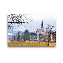 Premium Textil-Leinwand 45 x 30 cm Quer-Format Kirche in Bad Wiessee | Wandbild, HD-Bild auf Keilrahmen, Fertigbild auf hochwertigem Vlies, Leinwanddruck von Ralf Wittstock