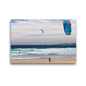 Premium Textil-Leinwand 45 x 30 cm Quer-Format Kite-Surfer am Playa A Lanzada   Wandbild, HD-Bild auf Keilrahmen, Fertigbild auf hochwertigem Vlies, Leinwanddruck von Andreas Schön