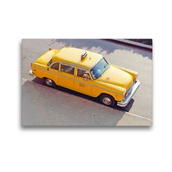 Premium Textil-Leinwand 45 x 30 cm Quer-Format Klassiker: Ein Checker Yellow Cab in New York   Wandbild, HD-Bild auf Keilrahmen, Fertigbild auf hochwertigem Vlies, Leinwanddruck von CALVENDO