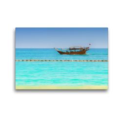 Premium Textil-Leinwand 45 x 30 cm Quer-Format Kleine Boote am Meeresufer entlang | Wandbild, HD-Bild auf Keilrahmen, Fertigbild auf hochwertigem Vlies, Leinwanddruck von Bettina Hackstein