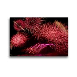 Premium Textil-Leinwand 45 x 30 cm Quer-Format Kölner Lichter – Sinfonie in Rot | Wandbild, HD-Bild auf Keilrahmen, Fertigbild auf hochwertigem Vlies, Leinwanddruck von Elisabeth Schittenhelm
