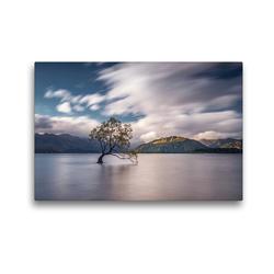 Premium Textil-Leinwand 45 x 30 cm Quer-Format Lake Wanaka und der einsame Wanaka Tree | Wandbild, HD-Bild auf Keilrahmen, Fertigbild auf hochwertigem Vlies, Leinwanddruck von Alexander Höntschel