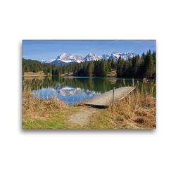 Premium Textil-Leinwand 45 x 30 cm Quer-Format Landschaft Oberbayern Geroldsee und Karwendelgebirge   Wandbild, HD-Bild auf Keilrahmen, Fertigbild auf hochwertigem Vlies, Leinwanddruck von SusaZoom