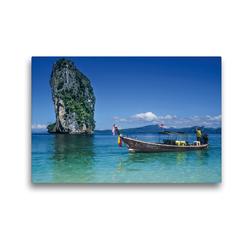 Premium Textil-Leinwand 45 x 30 cm Quer-Format Longtailboot bei Poda Island | Wandbild, HD-Bild auf Keilrahmen, Fertigbild auf hochwertigem Vlies, Leinwanddruck von Christian Müringer