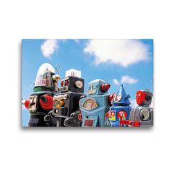 Premium Textil-Leinwand 45 x 30 cm Quer-Format Lustige Roboter aufgereiht unter blauem Himmel | Wandbild, HD-Bild auf Keilrahmen, Fertigbild auf hochwertigem Vlies, Leinwanddruck von CALVENDO