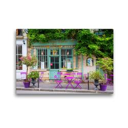 Premium Textil-Leinwand 45 x 30 cm Quer-Format malerisches Cafe in Paris | Wandbild, HD-Bild auf Keilrahmen, Fertigbild auf hochwertigem Vlies, Leinwanddruck von Christian Müller