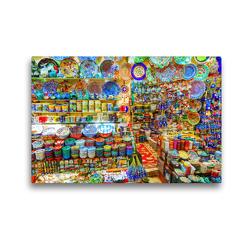 Premium Textil-Leinwand 45 x 30 cm Quer-Format Marktstand mit Keramik auf dem Großen Bazar | Wandbild, HD-Bild auf Keilrahmen, Fertigbild auf hochwertigem Vlies, Leinwanddruck von Christian Müller