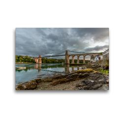 Premium Textil-Leinwand 45 x 30 cm Quer-Format Menai Suspension Bridge | Wandbild, HD-Bild auf Keilrahmen, Fertigbild auf hochwertigem Vlies, Leinwanddruck von Rene Schubert