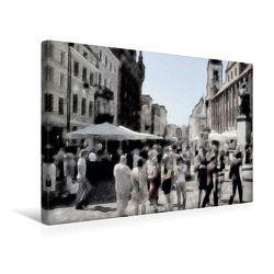 Premium Textil-Leinwand 45 x 30 cm Quer-Format Menschenauflauf | Wandbild, HD-Bild auf Keilrahmen, Fertigbild auf hochwertigem Vlies, Leinwanddruck von Paul Michalzik von Michalzik,  Paul