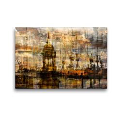 Premium Textil-Leinwand 45 x 30 cm Quer-Format Michel und Hafen | Wandbild, HD-Bild auf Keilrahmen, Fertigbild auf hochwertigem Vlies, Leinwanddruck von Karsten Jordan