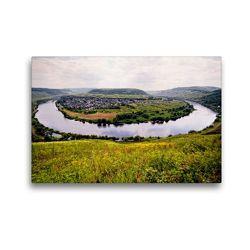 Premium Textil-Leinwand 45 x 30 cm Quer-Format Moselschleife Pünderich. Blick auf die Mosel | Wandbild, HD-Bild auf Keilrahmen, Fertigbild auf hochwertigem Vlies, Leinwanddruck von Anja Frost