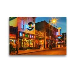 Premium Textil-Leinwand 45 x 30 cm Quer-Format Musikkneipen in der Beale Street, Memphis, Tennessee | Wandbild, HD-Bild auf Keilrahmen, Fertigbild auf hochwertigem Vlies, Leinwanddruck von gro