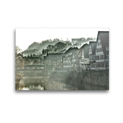 Premium Textil-Leinwand 45 x 30 cm Quer-Format Nebel über Schwäbisch-Hall | Wandbild, HD-Bild auf Keilrahmen, Fertigbild auf hochwertigem Vlies, Leinwanddruck von Lost Plastron Pictures