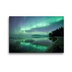 Premium Textil-Leinwand 45 x 30 cm Quer-Format Neblige Nacht in Schweden | Wandbild, HD-Bild auf Keilrahmen, Fertigbild auf hochwertigem Vlies, Leinwanddruck von Pierre Oesterle