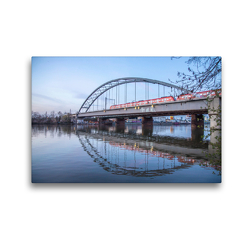 Premium Textil-Leinwand 45 x 30 cm Quer-Format Neue Niederräder Brücke in Frankfurt | Wandbild, HD-Bild auf Keilrahmen, Fertigbild auf hochwertigem Vlies, Leinwanddruck von Rolf Hecker