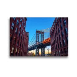 Premium Textil-Leinwand 45 x 30 cm Quer-Format Manhattan Bridge in New York City | Wandbild, HD-Bild auf Keilrahmen, Fertigbild auf hochwertigem Vlies, Leinwanddruck von Christian Müller