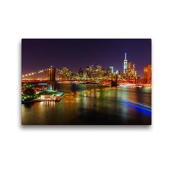 Premium Textil-Leinwand 45 x 30 cm Quer-Format Brooklyn Bridge in NYC bei Nacht | Wandbild, HD-Bild auf Keilrahmen, Fertigbild auf hochwertigem Vlies, Leinwanddruck von Christian Müller