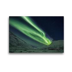 Premium Textil-Leinwand 45 x 30 cm Quer-Format Nordlicht in Norwegen | Wandbild, HD-Bild auf Keilrahmen, Fertigbild auf hochwertigem Vlies, Leinwanddruck von Johann Schörkhuber