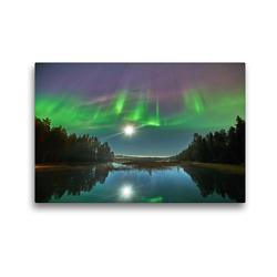 Premium Textil-Leinwand 45 x 30 cm Quer-Format Nordlichter tanzen im Mondschein | Wandbild, HD-Bild auf Keilrahmen, Fertigbild auf hochwertigem Vlies, Leinwanddruck von Pierre Oesterle