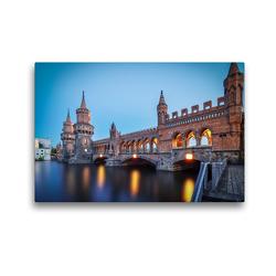 Premium Textil-Leinwand 45 x 30 cm Quer-Format Oberbaumbrücke Berlin, Spree | Wandbild, HD-Bild auf Keilrahmen, Fertigbild auf hochwertigem Vlies, Leinwanddruck von Urte Kortjohann Photography