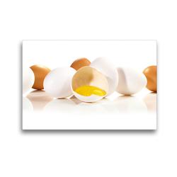 Premium Textil-Leinwand 45 x 30 cm Quer-Format Panorama – Weiße und braune Eier   Wandbild, HD-Bild auf Keilrahmen, Fertigbild auf hochwertigem Vlies, Leinwanddruck von Georg Hergenhan