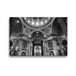 Premium Textil-Leinwand 45 x 30 cm Quer-Format Petersdom im Vatikan   Wandbild, HD-Bild auf Keilrahmen, Fertigbild auf hochwertigem Vlies, Leinwanddruck von Sergej Dimmel