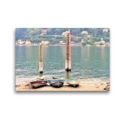 Premium Textil-Leinwand 45 x 30 cm Quer-Format Populäres Ausflugsziel am Lago Maggiore: Die Isola dei Pescatori. | Wandbild, HD-Bild auf Keilrahmen, Fertigbild auf hochwertigem Vlies, Leinwanddruck von Christine Konkel