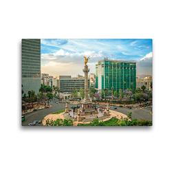 Premium Textil-Leinwand 45 x 30 cm Quer-Format Quirliges Treiben in Mexiko-Stadt an der Säule mit dem Engel der Unabhängigkeit | Wandbild, HD-Bild auf Keilrahmen, Fertigbild auf hochwertigem Vlies, Leinwanddruck von CALVENDO