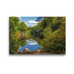 Premium Textil-Leinwand 45 x 30 cm Quer-Format Rakotzbrücke im Rhododrendronpark Kromlau | Wandbild, HD-Bild auf Keilrahmen, Fertigbild auf hochwertigem Vlies, Leinwanddruck von N N