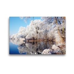 Premium Textil-Leinwand 45 x 30 cm Quer-Format Raureif an der Havel im Havelland   Wandbild, HD-Bild auf Keilrahmen, Fertigbild auf hochwertigem Vlies, Leinwanddruck von Anja Frost