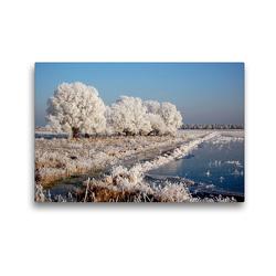 Premium Textil-Leinwand 45 x 30 cm Quer-Format Raureifwetter im Havelland | Wandbild, HD-Bild auf Keilrahmen, Fertigbild auf hochwertigem Vlies, Leinwanddruck von Anja Frost