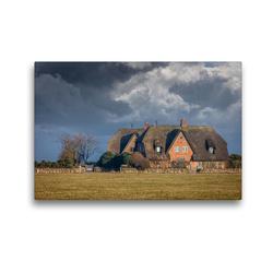 Premium Textil-Leinwand 45 x 30 cm Quer-Format Reetdachhöfe mit Sturmwolken auf Sylt | Wandbild, HD-Bild auf Keilrahmen, Fertigbild auf hochwertigem Vlies, Leinwanddruck von Christian Müringer