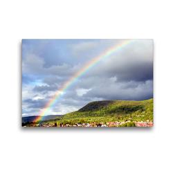 Premium Textil-Leinwand 45 x 30 cm Quer-Format Regenbogen über Pfullingen | Wandbild, HD-Bild auf Keilrahmen, Fertigbild auf hochwertigem Vlies, Leinwanddruck von GUGIGEI