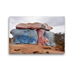 Premium Textil-Leinwand 45 x 30 cm Quer-Format Riesige, bis zu 30 Meter hohe, bunt bemalte Granitfelsen erheben sich südlich des Ortes Tafraoute | Wandbild, HD-Bild auf Keilrahmen, Fertigbild auf hochwertigem Vlies, Leinwanddruck von Ulrich Senff