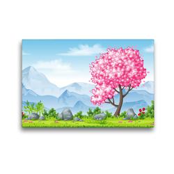 Premium Textil-Leinwand 45 x 30 cm Quer-Format Rosa blühender Baum im Frühling | Wandbild, HD-Bild auf Keilrahmen, Fertigbild auf hochwertigem Vlies, Leinwanddruck von Gabi Wolf