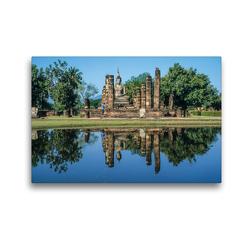 Premium Textil-Leinwand 45 x 30 cm Quer-Format Ruine des Tempels Wat Mahathat   Wandbild, HD-Bild auf Keilrahmen, Fertigbild auf hochwertigem Vlies, Leinwanddruck von Christian Müringer