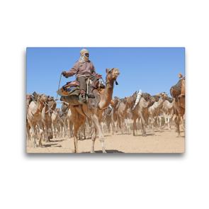 Premium Textil-Leinwand 45 x 30 cm Quer-Format Salzkarawane im Tschad | Wandbild, HD-Bild auf Keilrahmen, Fertigbild auf hochwertigem Vlies, Leinwanddruck von Knut Bormann
