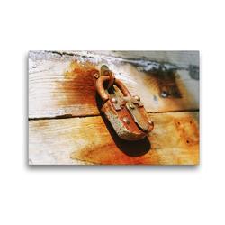 Premium Textil-Leinwand 45 x 30 cm Quer-Format Schloss auf rostigem Hintergrund | Wandbild, HD-Bild auf Keilrahmen, Fertigbild auf hochwertigem Vlies, Leinwanddruck von Gerd Matschek