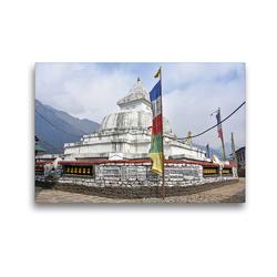 Premium Textil-Leinwand 45 x 30 cm Quer-Format Schöner Stupa im Dorf Chaurikharka im Solu Khumbu auf 2650 m Höhe | Wandbild, HD-Bild auf Keilrahmen, Fertigbild auf hochwertigem Vlies, Leinwanddruck von Ulrich Senff