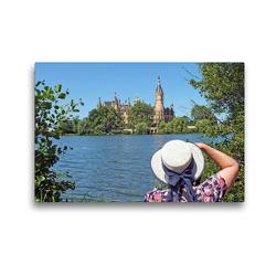Premium Textil-Leinwand 45 x 30 cm Quer-Format Schweriner Schlossblick | Wandbild, HD-Bild auf Keilrahmen, Fertigbild auf hochwertigem Vlies, Leinwanddruck von Holger Felix