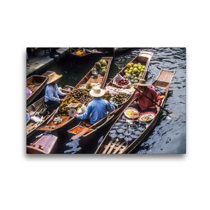 Premium Textil-Leinwand 45 x 30 cm Quer-Format Schwimmende Märkte in Damnoen Saduak | Wandbild, HD-Bild auf Keilrahmen, Fertigbild auf hochwertigem Vlies, Leinwanddruck von Christian Müringer