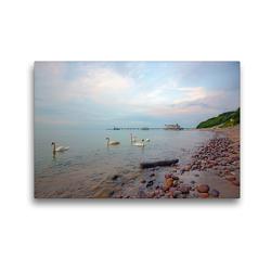 Premium Textil-Leinwand 45 x 30 cm Quer-Format Seebrücke Seelin | Wandbild, HD-Bild auf Keilrahmen, Fertigbild auf hochwertigem Vlies, Leinwanddruck von Andrea Potratz