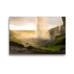 Premium Textil-Leinwand 45 x 30 cm Quer-Format Seljandsfoss Island | Wandbild, HD-Bild auf Keilrahmen, Fertigbild auf hochwertigem Vlies, Leinwanddruck von Johann Schörkhuber