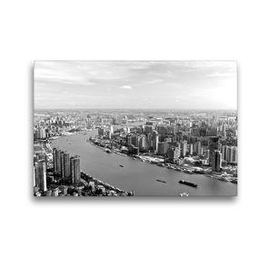 Premium Textil-Leinwand 45 x 30 cm Quer-Format Shanghai Skyline mit Huangpu River | Wandbild, HD-Bild auf Keilrahmen, Fertigbild auf hochwertigem Vlies, Leinwanddruck von Ralf Wittstock